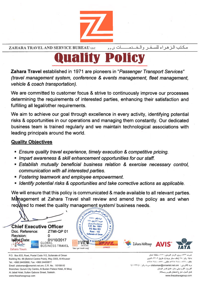 Quality Policy - Zahara Travel and Service Bureau LLC