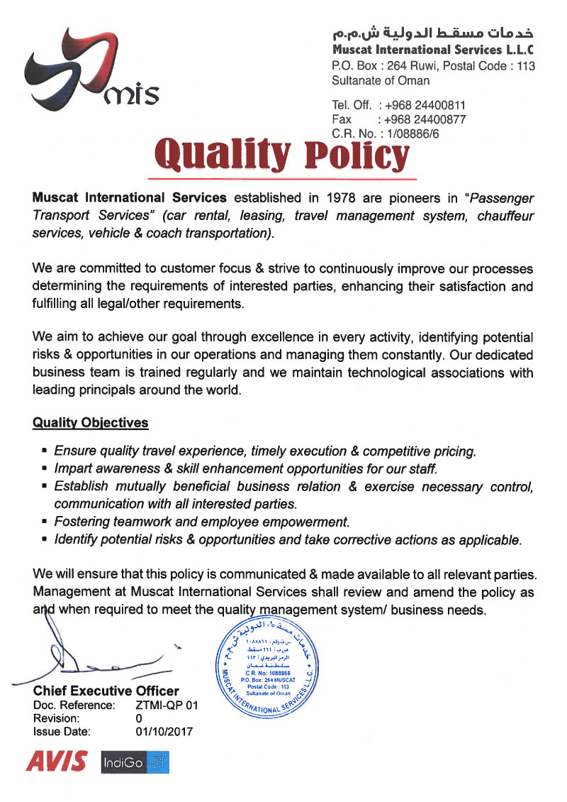 Quality Policy - Muscat International Services LLC